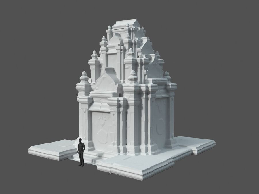 Ruiny Ancient Temple - Khmer Architecture Pack A-01 royalty-free 3d model - Preview no. 8