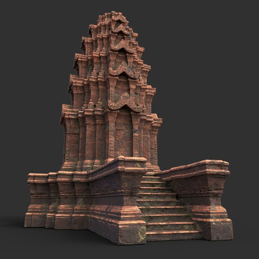 Ruiny Ancient Temple - Khmer Architecture Pack A-01 royalty-free 3d model - Preview no. 19