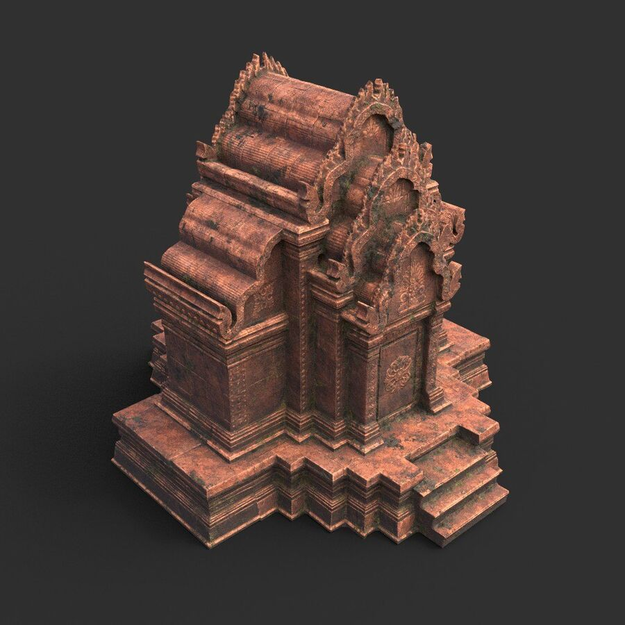 Ruiny Ancient Temple - Khmer Architecture Pack A-01 royalty-free 3d model - Preview no. 14