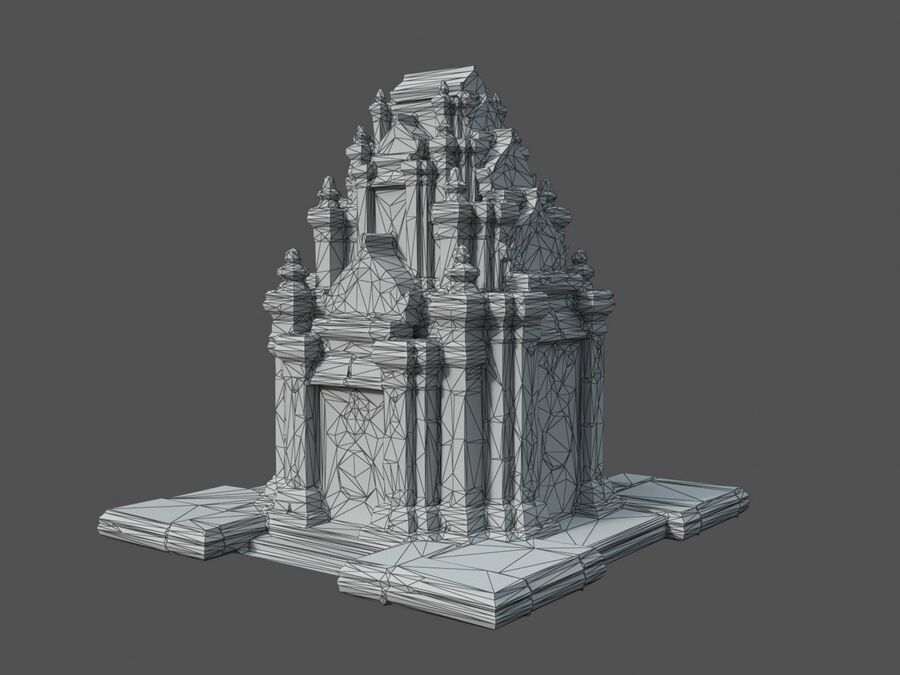 Ruiny Ancient Temple - Khmer Architecture Pack A-01 royalty-free 3d model - Preview no. 11