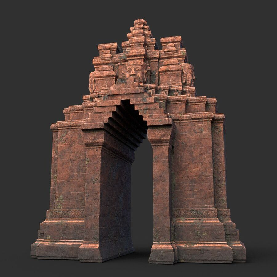 Ruiny Ancient Temple - Khmer Architecture Pack A-01 royalty-free 3d model - Preview no. 37