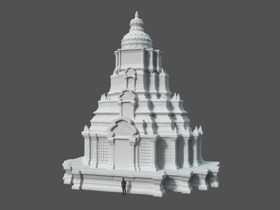 Ruiny Ancient Temple - Khmer Architecture Pack A-01 royalty-free 3d model - Preview no. 43