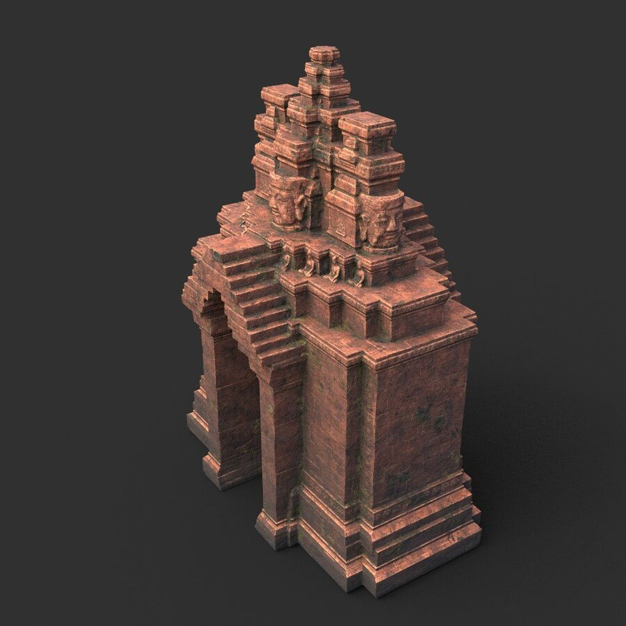 Ruiny Ancient Temple - Khmer Architecture Pack A-01 royalty-free 3d model - Preview no. 40