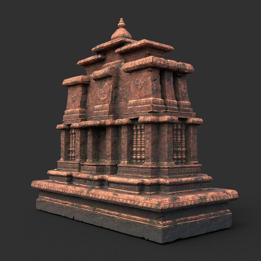 Ruiny Ancient Temple - Khmer Architecture Pack A-01 royalty-free 3d model - Preview no. 34