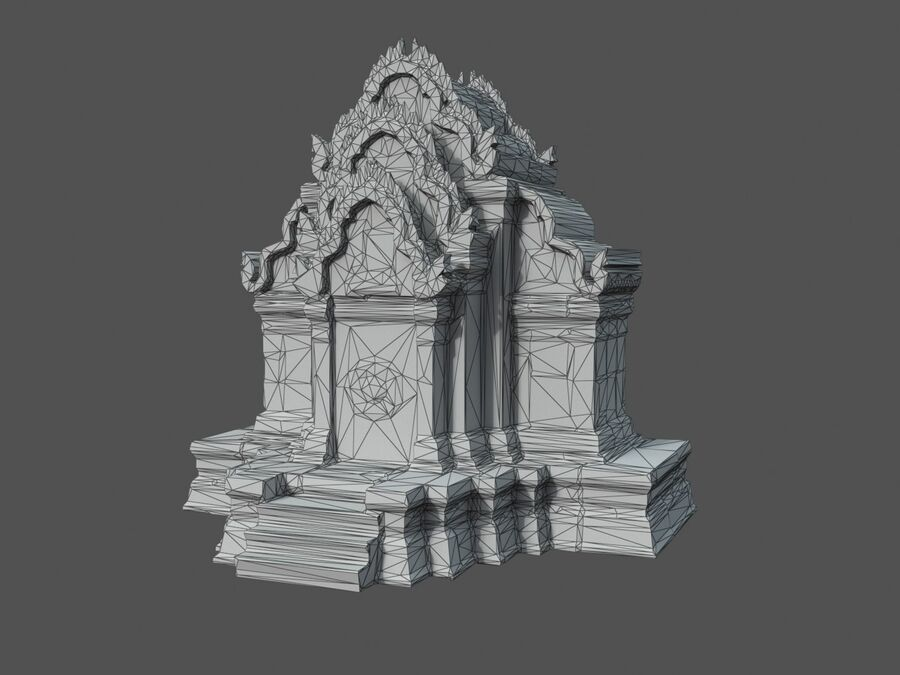 Ruiny Ancient Temple - Khmer Architecture Pack A-01 royalty-free 3d model - Preview no. 16