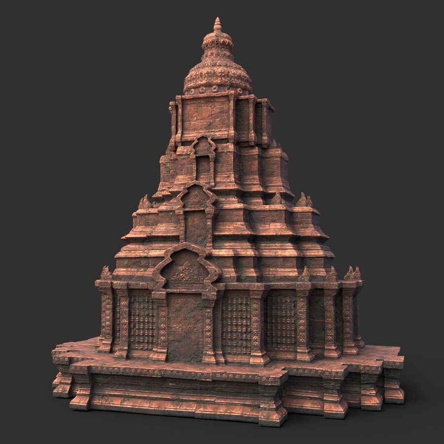 Ruiny Ancient Temple - Khmer Architecture Pack A-01 royalty-free 3d model - Preview no. 42