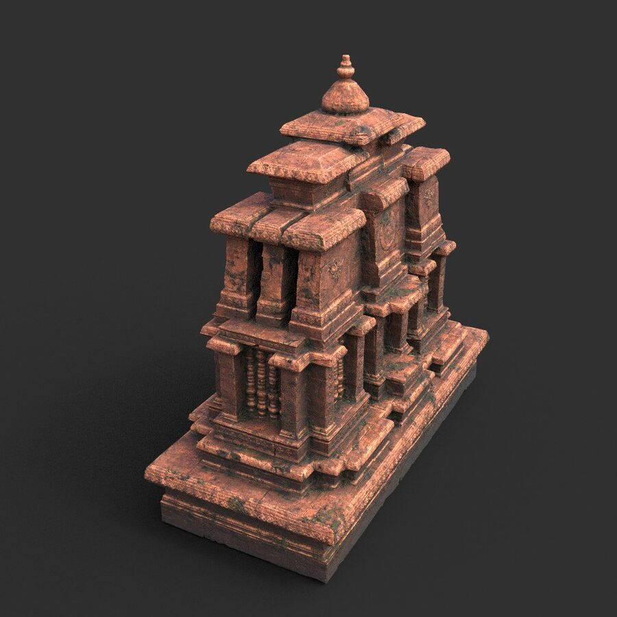 Ruiny Ancient Temple - Khmer Architecture Pack A-01 royalty-free 3d model - Preview no. 35