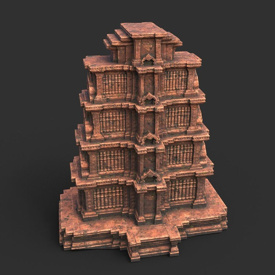 Ruiny Ancient Temple - Khmer Architecture Pack A-01 royalty-free 3d model - Preview no. 25