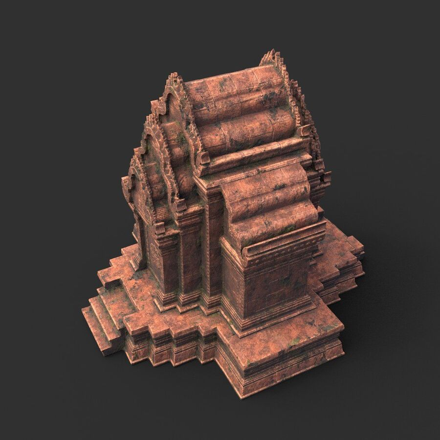 Ruiny Ancient Temple - Khmer Architecture Pack A-01 royalty-free 3d model - Preview no. 15