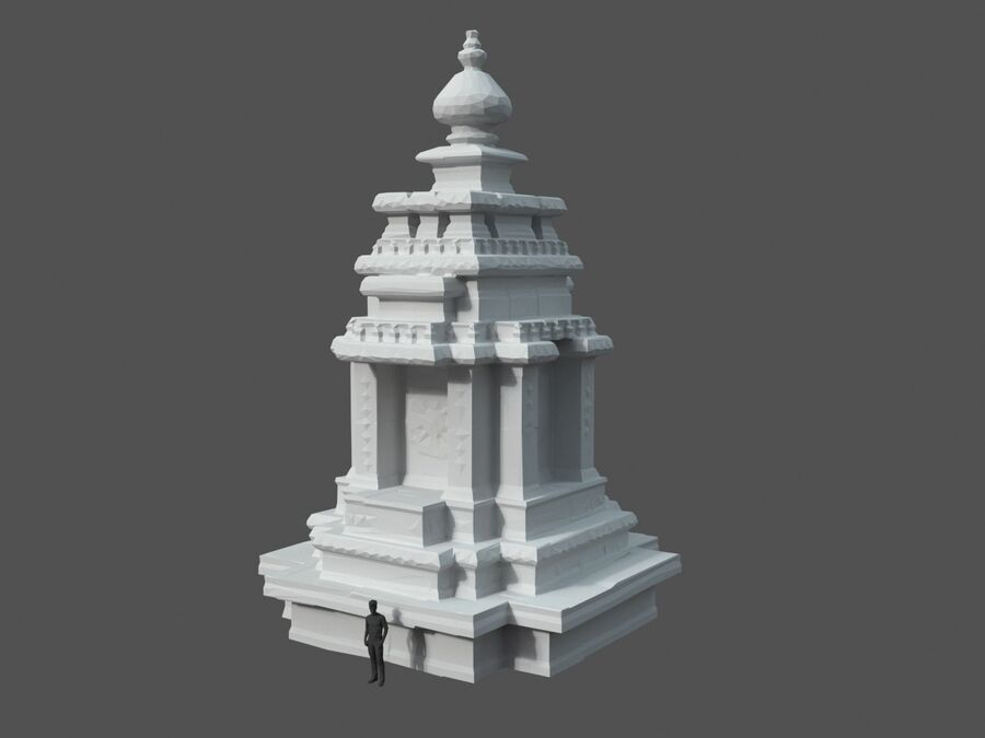 Ruiny Ancient Temple - Khmer Architecture Pack A-01 royalty-free 3d model - Preview no. 28