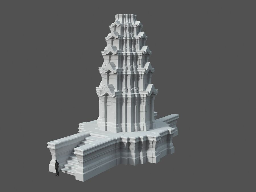 Ruiny Ancient Temple - Khmer Architecture Pack A-01 royalty-free 3d model - Preview no. 18