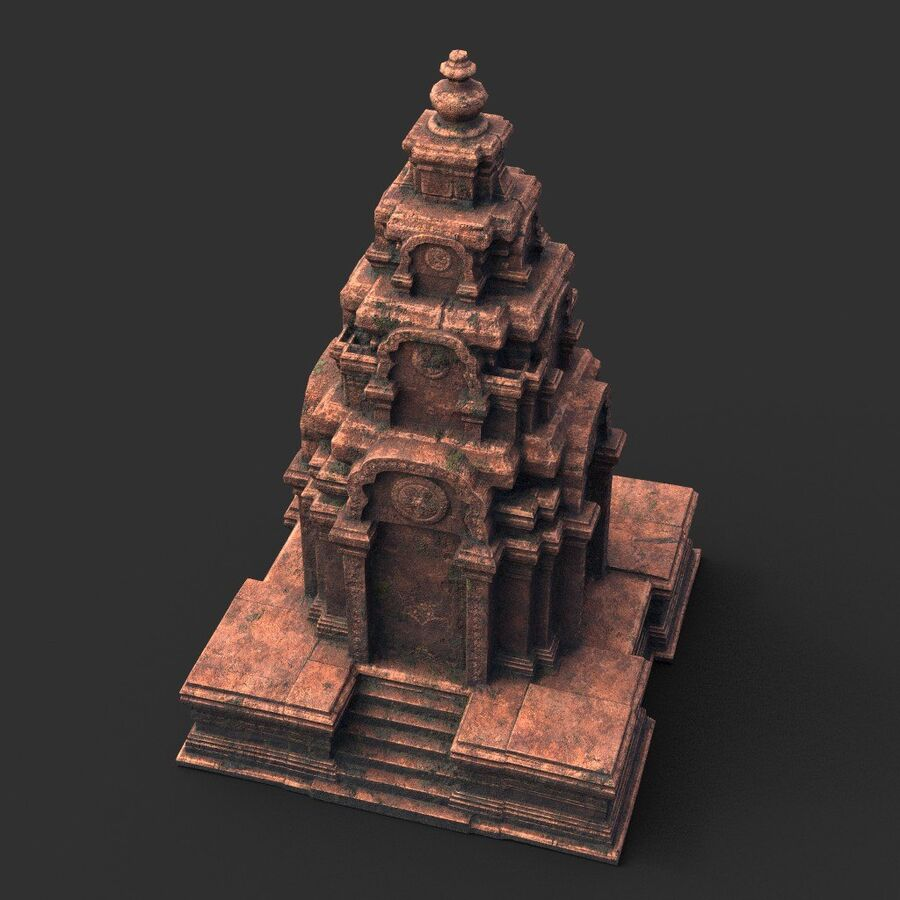 Ruiny Ancient Temple - Khmer Architecture Pack A-01 royalty-free 3d model - Preview no. 5