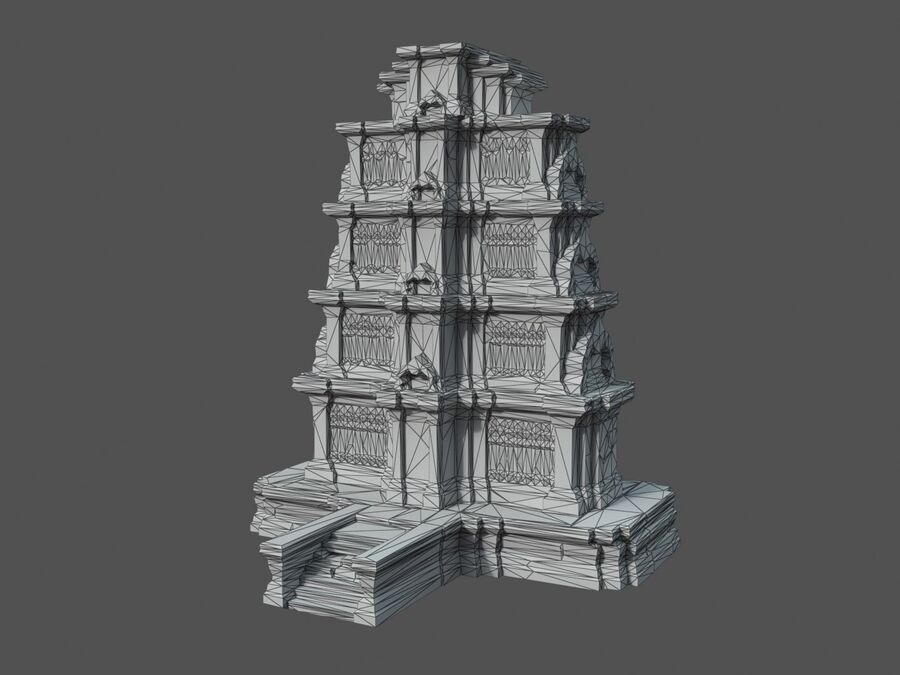Ruiny Ancient Temple - Khmer Architecture Pack A-01 royalty-free 3d model - Preview no. 26