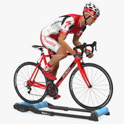 Bicyclist Riding Tacx Galaxia Advanced Roller Trainer modelo 3d