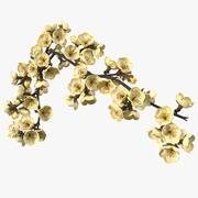 Trädfilial med gula blommor 3d model