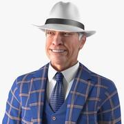 Costume de loisirs homme âgé pose debout 3d model