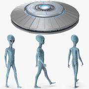 Space Alien with UFO Rigged Collection for Modo 3d model