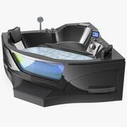 Moderne Whirlpool-Eckbadewanne schwarz 3d model