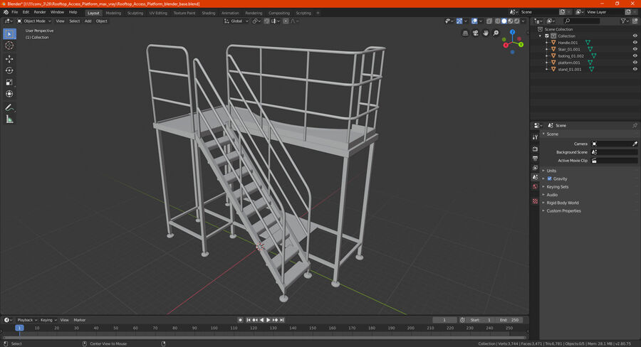 Rooftop Access Platform royalty-free 3d model - Preview no. 21
