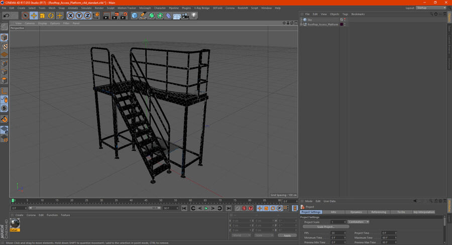 Rooftop Access Platform royalty-free 3d model - Preview no. 19