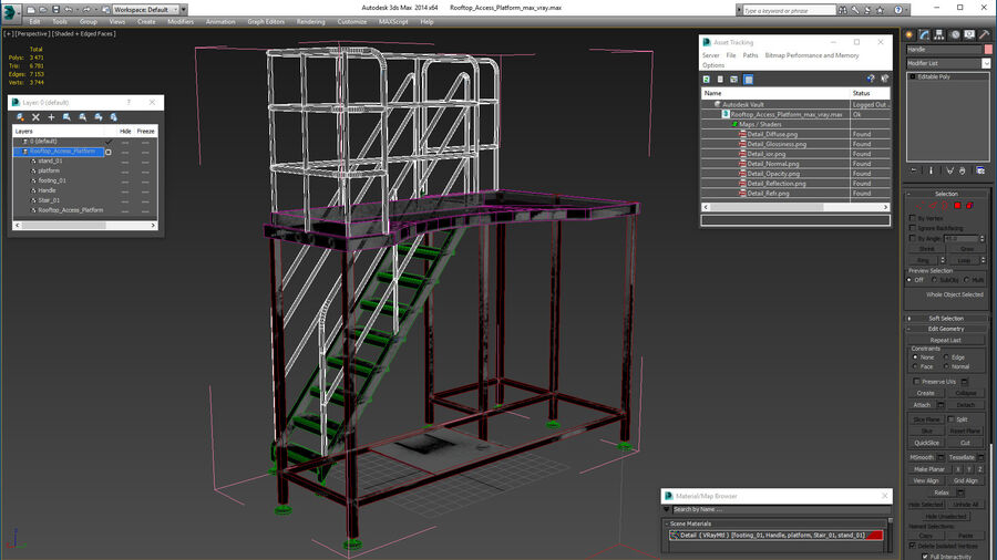 Rooftop Access Platform royalty-free 3d model - Preview no. 18