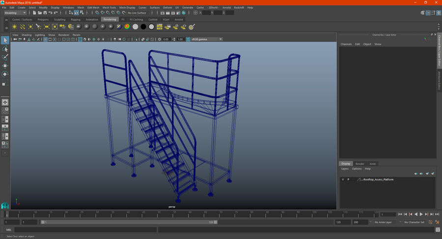 Rooftop Access Platform royalty-free 3d model - Preview no. 20