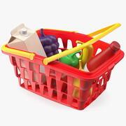 Cestino della spesa dei bambini con il giocattolo dell'alimento della drogheria 3d model