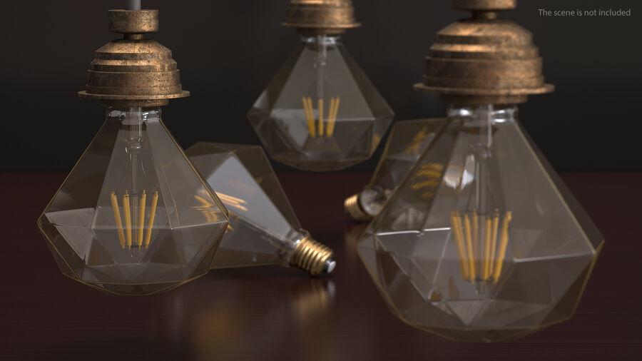 Sapphire Shape Filament LED Light Bulb royalty-free 3d model - Preview no. 6
