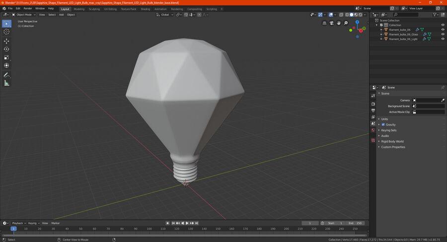 Sapphire Shape Filament LED Light Bulb royalty-free 3d model - Preview no. 23