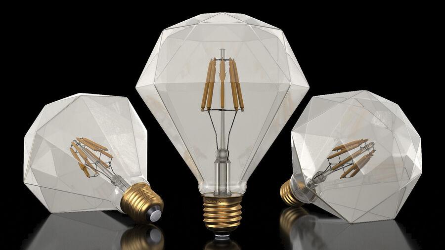 Sapphire Shape Filament LED Light Bulb royalty-free 3d model - Preview no. 3
