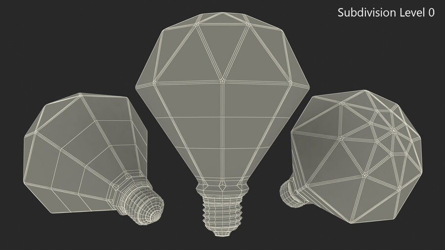 Sapphire Shape Filament LED Light Bulb royalty-free 3d model - Preview no. 15