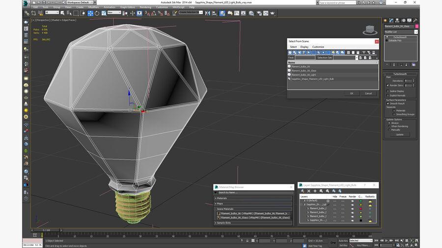 Sapphire Shape Filament LED Light Bulb royalty-free 3d model - Preview no. 20