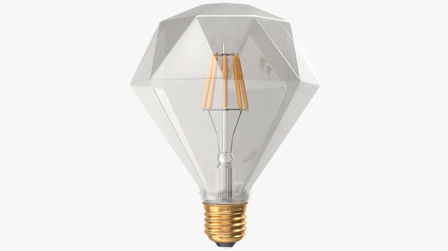 Sapphire Shape Filament LED Light Bulb royalty-free 3d model - Preview no. 8