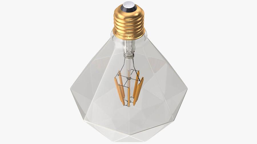 Sapphire Shape Filament LED Light Bulb royalty-free 3d model - Preview no. 10