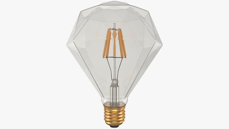 Sapphire Shape Filament LED Light Bulb royalty-free 3d model - Preview no. 2
