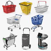 Coleção de cestas e carrinhos 4 3d model