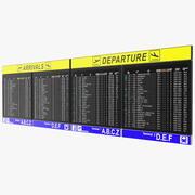 공항 시간표 도착 및 출발 보드 3d model