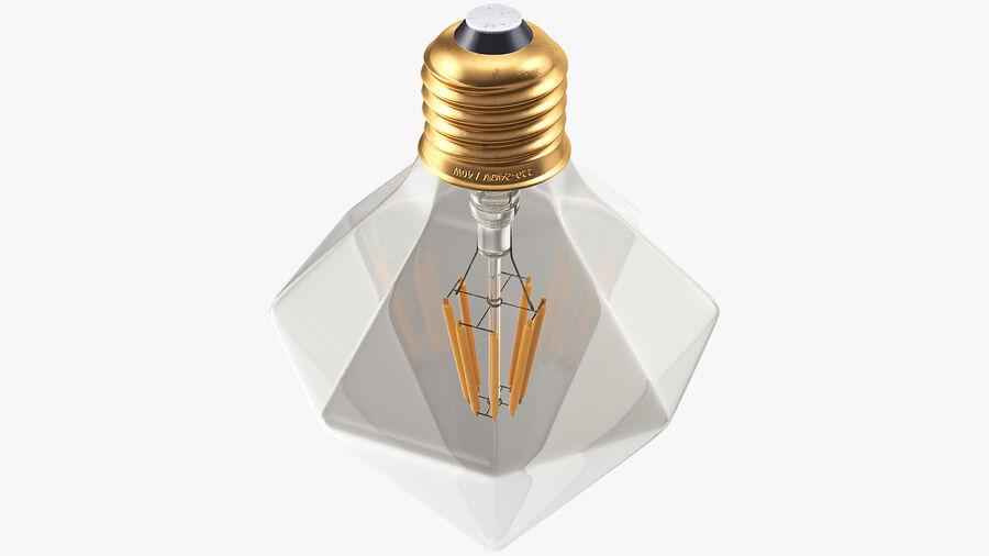 Diamond Shape Filament LED Light Bulb royalty-free 3d model - Preview no. 9
