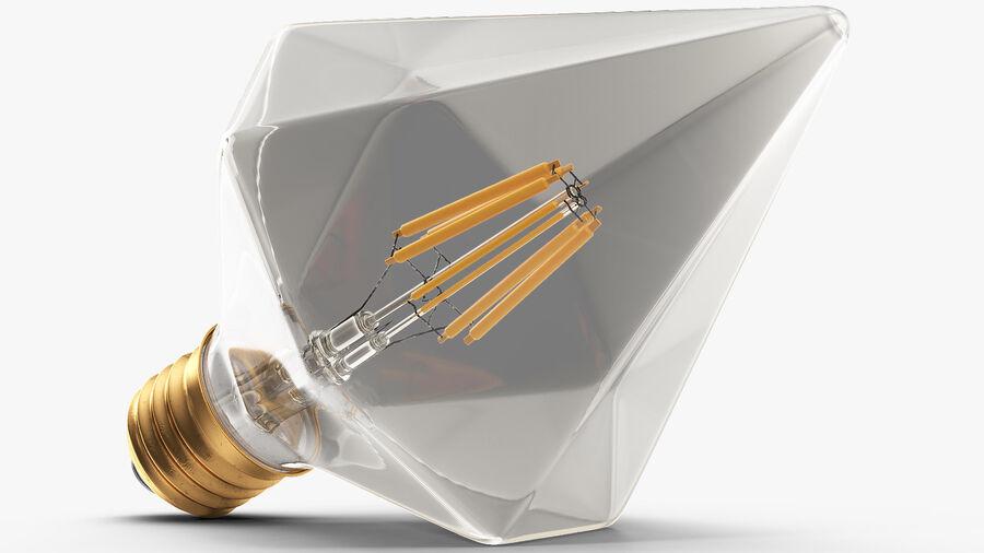 Diamond Shape Filament LED Light Bulb royalty-free 3d model - Preview no. 11