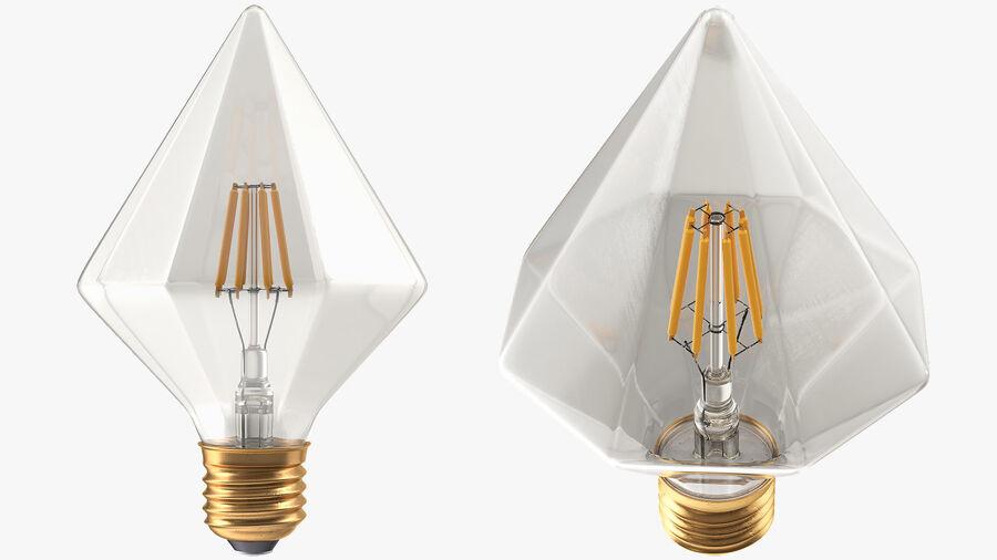 Diamond Shape Filament LED Light Bulb royalty-free 3d model - Preview no. 8