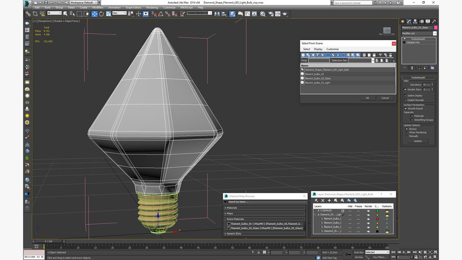 Diamond Shape Filament LED Light Bulb royalty-free 3d model - Preview no. 21
