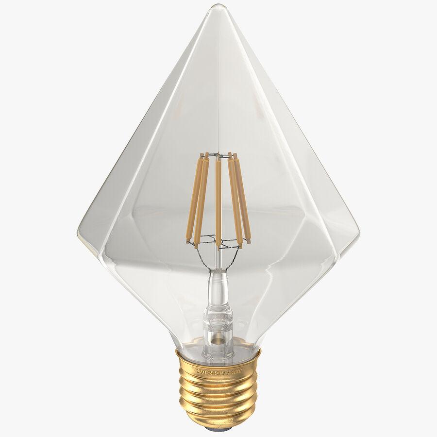 Diamond Shape Filament LED Light Bulb royalty-free 3d model - Preview no. 1