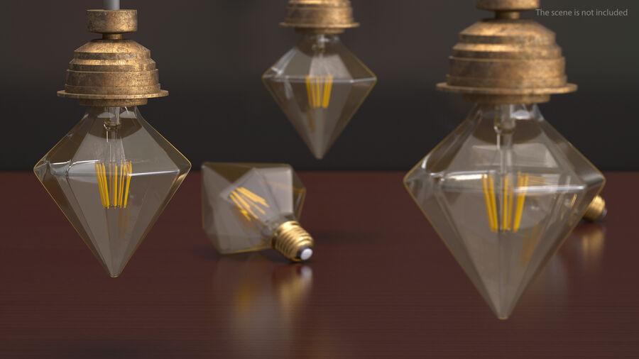Diamond Shape Filament LED Light Bulb royalty-free 3d model - Preview no. 6