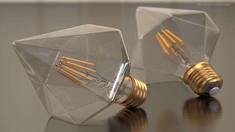 Diamond Shape Filament LED Light Bulb royalty-free 3d model - Preview no. 5