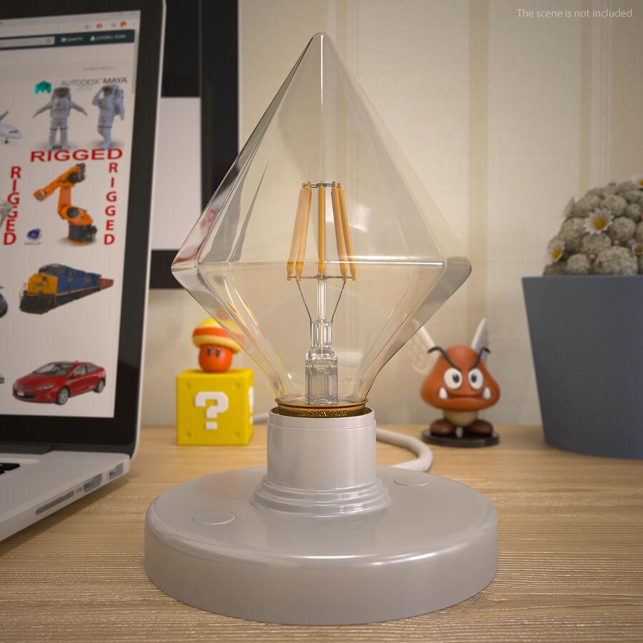 Diamond Shape Filament LED Light Bulb royalty-free 3d model - Preview no. 7