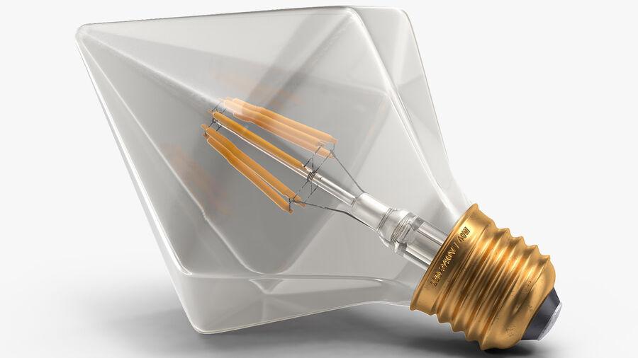 Diamond Shape Filament LED Light Bulb royalty-free 3d model - Preview no. 10