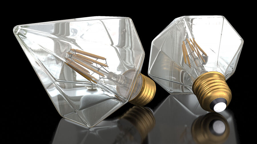 Diamond Shape Filament LED Light Bulb royalty-free 3d model - Preview no. 3