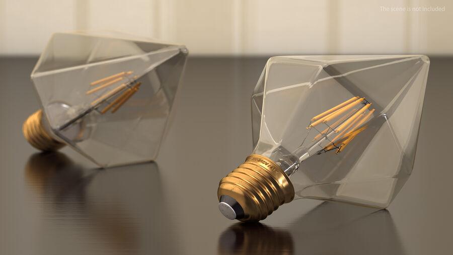 Diamond Shape Filament LED Light Bulb royalty-free 3d model - Preview no. 4