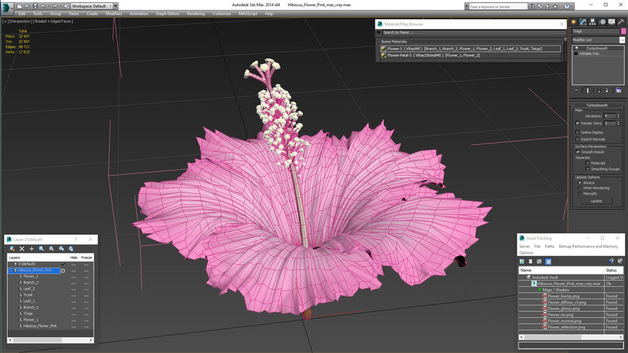 Hibiscus Flower Pink royalty-free 3d model - Preview no. 21