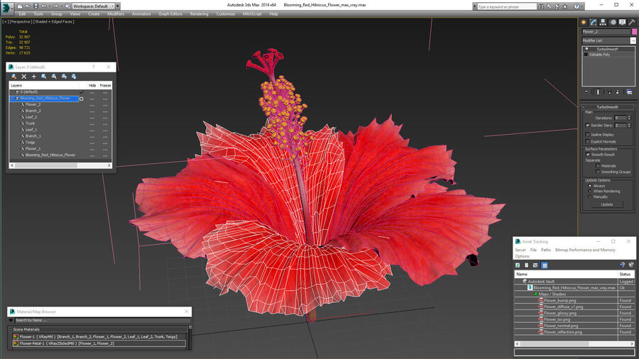 Blooming Red Hibiscus Flower royalty-free 3d model - Preview no. 21
